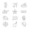 Set of vector icons Fatherland Defender's Day