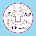A set of vector icons in the form of a pie chart on the theme of clothing, shoes and accessories. Vector illustration.