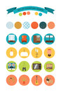 Set of vector icons of furniture and accessories in the style of 70's. Set of icons of the seventies.