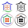 Set of vector icons of houses, logos of construction firms, firms for the sale and rental of housing Royalty Free Stock Photo