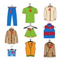 Set of vector icons of men s clothes trempel with tag new arrival discounts colorful clothing collection Stock Photos
