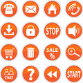 Set of vector icons of orange stock image Royalty Free Stock Photography