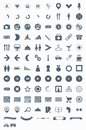 Set vector icons, signs, symbols and pictograms. Royalty Free Stock Photos
