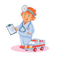 Set vector icons of small child doctor and his toy ambulance Royalty Free Stock Photo