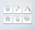 Set of vector icons with small house, key, open, closed lock Royalty Free Stock Photo