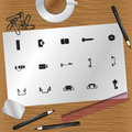 Set of vector icons on the theme of hardware.