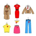 Set of vector icons of women s clothes trempel with tag new arrival discounts colorful clothing collection Royalty Free Stock Photography