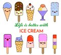 Set of Vector illustration of cartoon funny ice creams with happy smiling faces for kids designs and decorations