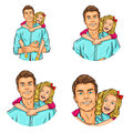 Set of vector illustration, mens pop art round avatars icons