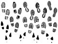 Set vector illustration silhouettes shoe prints sole Royalty Free Stock Image