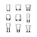 Set of vector illustration stemware Royalty Free Stock Photo