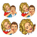 Set of vector illustration, womens pop art round avatars icons
