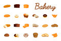 Set of vector illustrations with bakery products. Bread, sweet bun, cookies, croissant, cake, donut