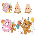 Set of vector illustrations with brown teddy bear, birthday cake and number 9.