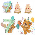 Set of vector illustrations with brown teddy bear, birthday cake and number 7.
