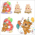Set of vector illustrations with brown teddy bear, birthday cake and number 8.