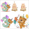 Set of vector illustrations with brown teddy bear, birthday cake and number 3.