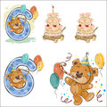 Set of vector illustrations with brown teddy bear, birthday cake and number 6.