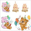 Set of vector illustrations with brown teddy bear, birthday cake and number 5.