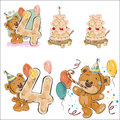 Set of vector illustrations with brown teddy bear, birthday cake and number 4.