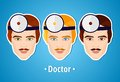 Set of vector illustrations of a doctor. Doctor. The mans's face. Icon Royalty Free Stock Photo