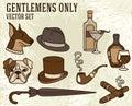 Set of vector illustrations for gentlemen