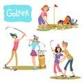 Set of vector illustrations of golf games.