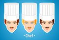 Set of vector illustrations of a male chef. Man. The mans's face. Icon. Flat icon. Minimalism. The stylized Man. Occupation. Job. Royalty Free Stock Photo