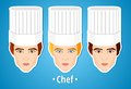 Set of vector illustrations of a male chef. Man. The mans's face. Icon. Flat icon. Minimalism. Royalty Free Stock Photo