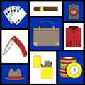 Set of vector illustrations - men`s way of life. Royalty Free Stock Photo