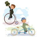 Set of vector illustrations small children on vintsge bicycles Royalty Free Stock Photo