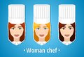 Set of vector illustrations of a woman chef woman chef the girl s face icon flat icon minimalism the stylized girl job uniforms Royalty Free Stock Photography