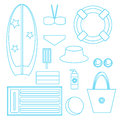 Set of vector images - beach accessories Royalty Free Stock Photo