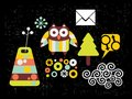 Set of vector images with owl clip art Stock Photography