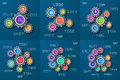 Set of vector infographic templates with gears, cogwheels