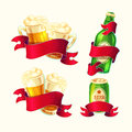Set of vector isolated cartoon illustrations beer glasses, glass bottle, aluminum can with red ribbon.