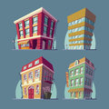 Set of vector isometric icons buildings in Cartoon style Royalty Free Stock Photo