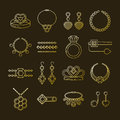 Set of vector jewelry line icons. Diamond luxury collection isolated on dark. Ring necklace earrings chain diadem