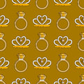 Set of vector jewelry line seamless pattern. Diamond luxury colorful collection. Ring and diadem silhouettes. Gold gem