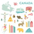 stock image of  Set of vector landmarks, icons, symbols of Canada