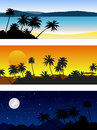 Set of vector landscapes with palm trees Royalty Free Stock Photo