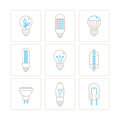 Set of vector light bulb icons and concepts in mono thin line style Royalty Free Stock Photo