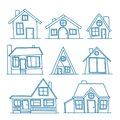 Set of Vector line art illustration of cool detailed house icon isolated on white background. For coloration Royalty Free Stock Photo