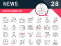 Set Vector Flat Line Icons News Royalty Free Stock Photo