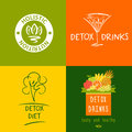 Set of vector logo detox drink diet and holistic nutrition on color background hand drawn illustration for fresh health food Stock Photo