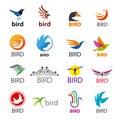 Set of vector logos birds big Stock Photos
