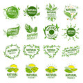 Set of vector logos for natural products Royalty Free Stock Photo