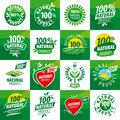 Set vector logos for natural products Royalty Free Stock Photo