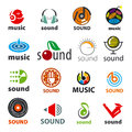 Set of vector logos sound and music big Royalty Free Stock Photography