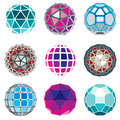 Set of vector low poly spherical objects with connected lines an